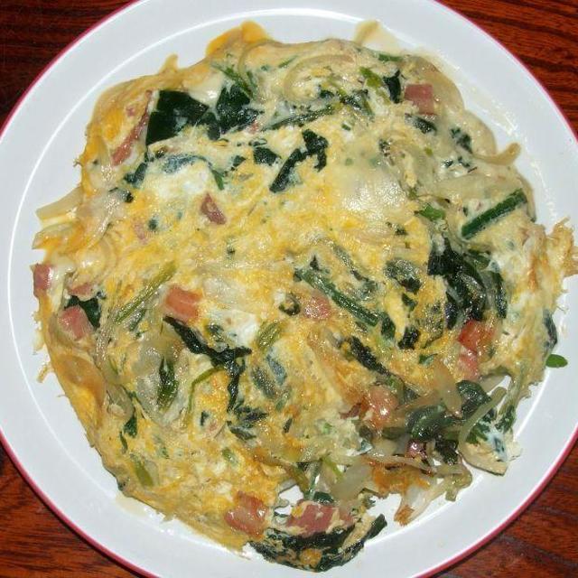 ほうれん草オムレツ&鰤水菜サラダ
