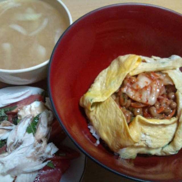 納豆キムチのオムレツ丼♪