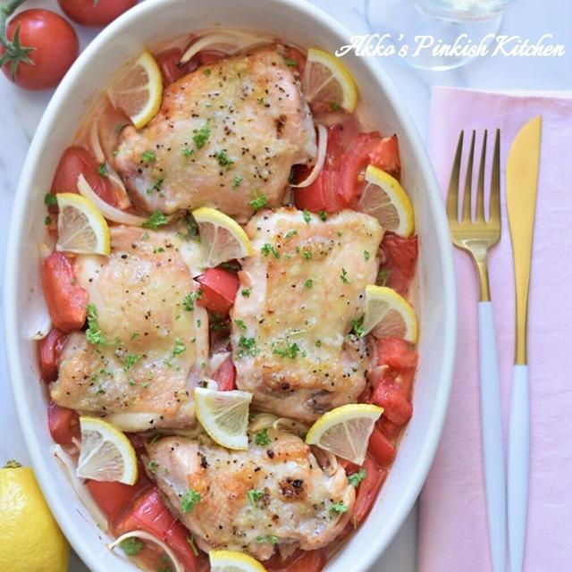 【おもてなし】夏にピッタリ♪ガーリックチキンのトマトグリル♡白ワインによく合う鶏肉料理