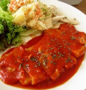 トマトジュース&ガーリックソースのトンテキ