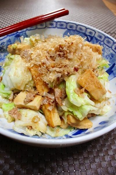 キャベツと高野豆腐の甜麺醤炒め・マイルド削りでうま味たっぷり