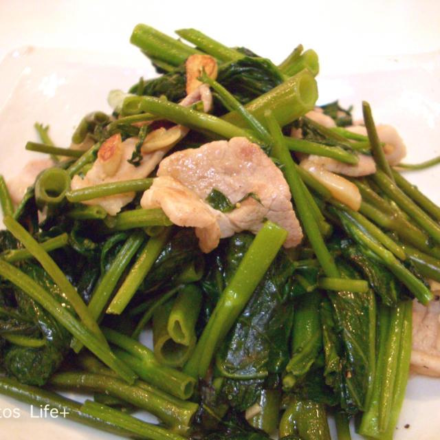 空心菜と豚肉のにんにく炒め