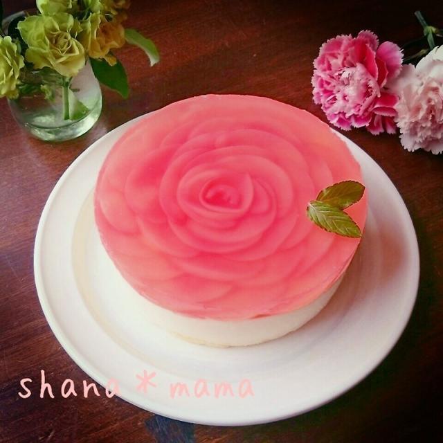 母の日に♪あれで色付け!?桃の薔薇のレアチーズケーキ♪