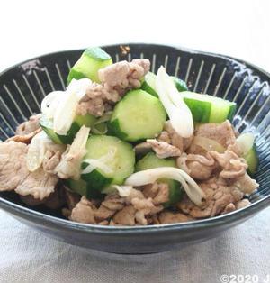 きゅうりと豚こま肉の中華炒め