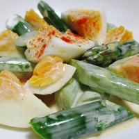 アスパラと卵のマヨポンサラダ<パプリカ風味>