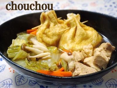 卵と油揚げ巾着の白菜煮浸し-簡単*節約