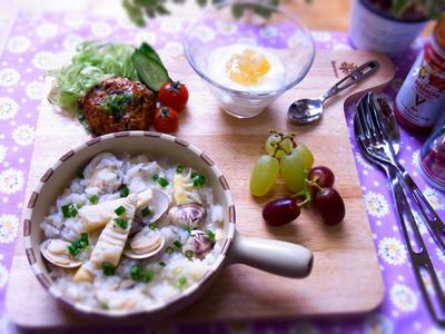 >タケノコとハマグリのリゾット(雑炊)・筍ご飯とハマグリの潮汁のリメイク料理 by マムチさん