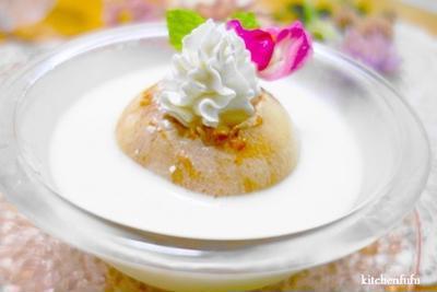 旬の桃まるごと&ババロアの相性ピッタリデザート♪