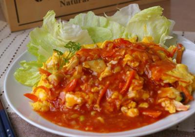 あまり野菜と卵のチリソース