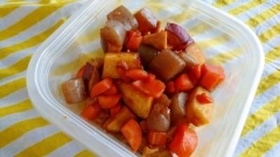 サツマイモと鶏肉のめんつゆ煮
