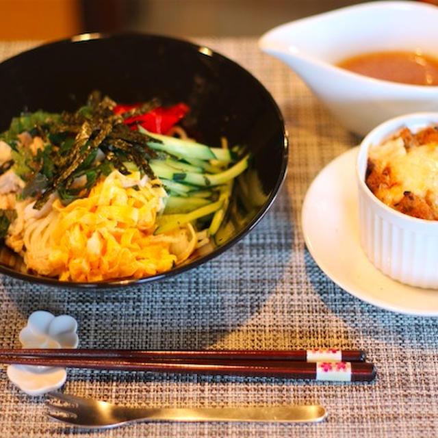 冷や麦の冷やし中華風 醤油麹ダレ