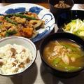 節分豆で豆ご飯と豚肉と根菜のオイスターソース炒め