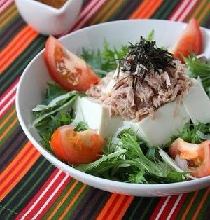 豆腐と水菜の韓国風サラダ