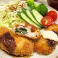 【和食】ノンエッグ!「大葉チーズのささみフライとイカフライ」&モロヘイヤのお浸しで晩ごはん。