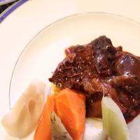 トリッパ初調理!牛すね肉といっしょにこっくりとポルト酒&八丁味噌&デミ&トマト煮込み 根菜添え &ペコリーノロマーノ風味トリッパのフライ & ひき肉とトマトといっしょにお惣菜風煮込み