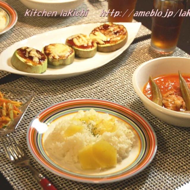 バミアポロ(オクラと鶏肉のトマト煮込み)でペルシアン料理♪ポテトライス