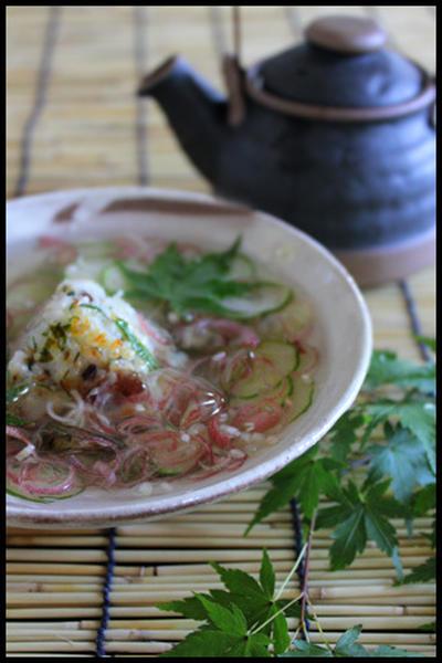 アジの焼きおにぎり冷や汁ぶっかけ&抹茶パフェ~