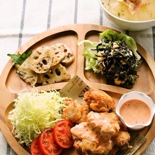 鶏ムネの唐揚げチリマヨソース / 丸ごと新玉ネギスープ