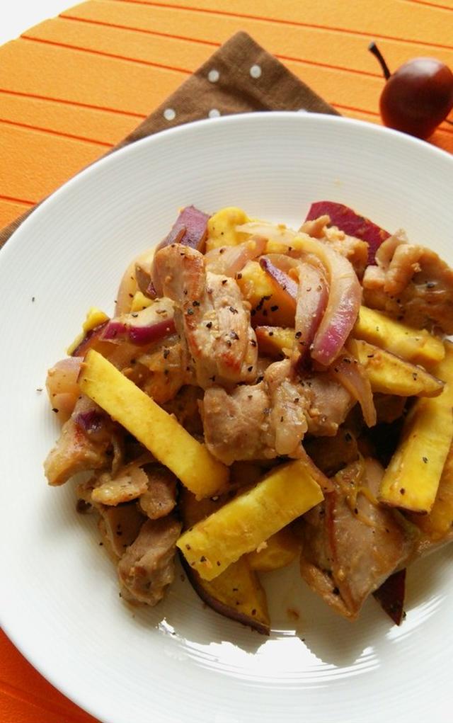 鶏肉とさつまいもの味噌マヨ炒め