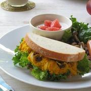 かぼちゃサラダのサンドイッチでワンプレート♪