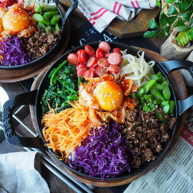 韓国レシピ色々~❤️と、野菜がもりもり食べられる♪あっという間に我が家のビビンバ❤️
