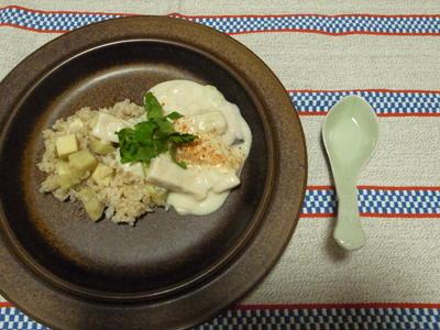 ワンプレートの洋食風精進:かぶときのこのクリーム・シチューかけ略式さつまいもごはん