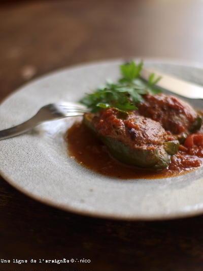 ピーマンの肉詰めトマト煮込み。