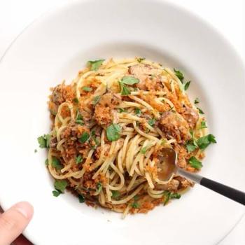 【余ったパン粉が大活躍!】鰯缶のシチリア風パスタのレシピ