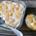 【簡単!おやつ】とろける味わい♪桃たっぷり牛乳プリン