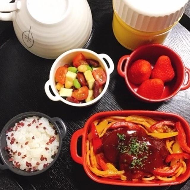 志麻さんの生ハムスープ・煮込みハンバーグ・豆サラダ弁当・卵天丼