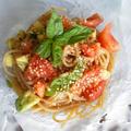 トマトとアボカド、バジルの冷製スパゲティ