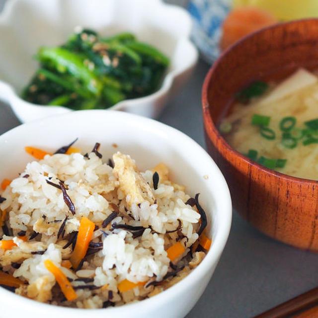 混ぜて炊くだけ☆簡単ひじきの炊き込みご飯と煮物