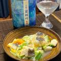 鱧と九条葱の卵とじ、キムチ納豆モロヘイヤ、冬瓜とシイタケの中華煮、大根と小烏賊の煮物