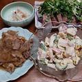 豚の生姜焼きとマカロニサラダと鰹のたたき