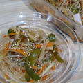 iwaki耐熱容器で簡単☆みりんと醤油の甘め春雨サラダ大根の皮で節約です!