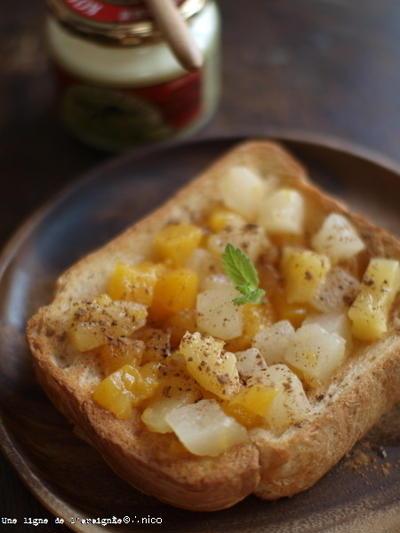 ホットバターフルーツトースト。