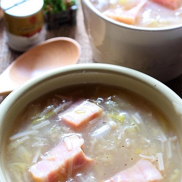 <あったまる~ベーコンと白菜ときのこのとろ~りスープ>