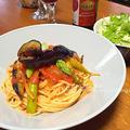 夏野菜たっぷりのトマトソーススパゲッティ
