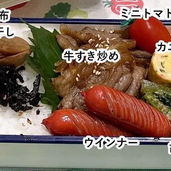 【お弁当】牛すき炒め/挽き肉と茄子のピリ辛炒め/彩りそぼろ丼/ささみカレーカッ/ポークチャップ/
