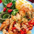 鶏もも肉と夏野菜の蒸し煮〜とうもろこしご飯を添えて〜 by みすずさん