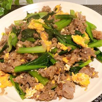 下味のみで味つけ不要!忙しい日にピッタリ 牛肉と小松菜とたまごの中華炒め