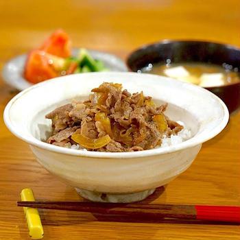 きのうの献立メモ。牛丼定食(2019.7.11)