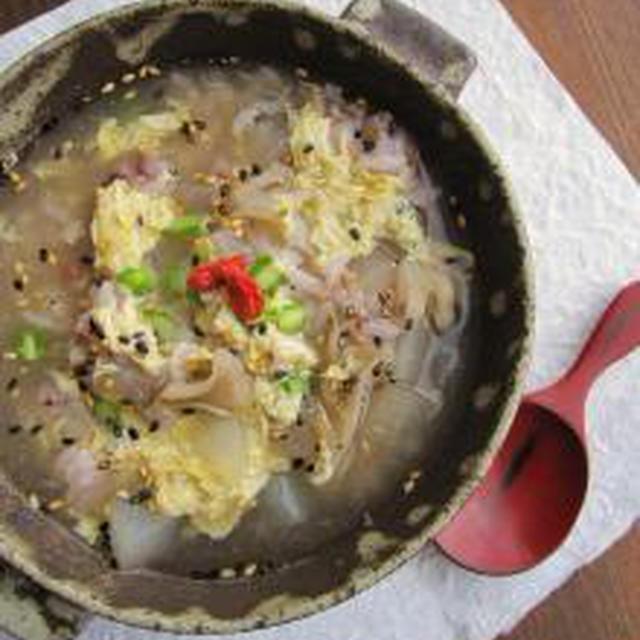ヨレヨレのわたくし用、塩麹卵とじスープかけご飯。