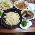 【献立】ざるうどん、茄子の味噌煮、えのき生醤油煮、キャベツときゅうりの即席お漬物、枝豆