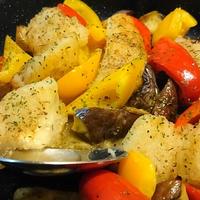 あぶらがれいと夏野菜の甘酢炒め。