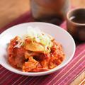 豚ホルモンのフレッシュトマト煮込み、ボイル豚ホルモンを使った料理。