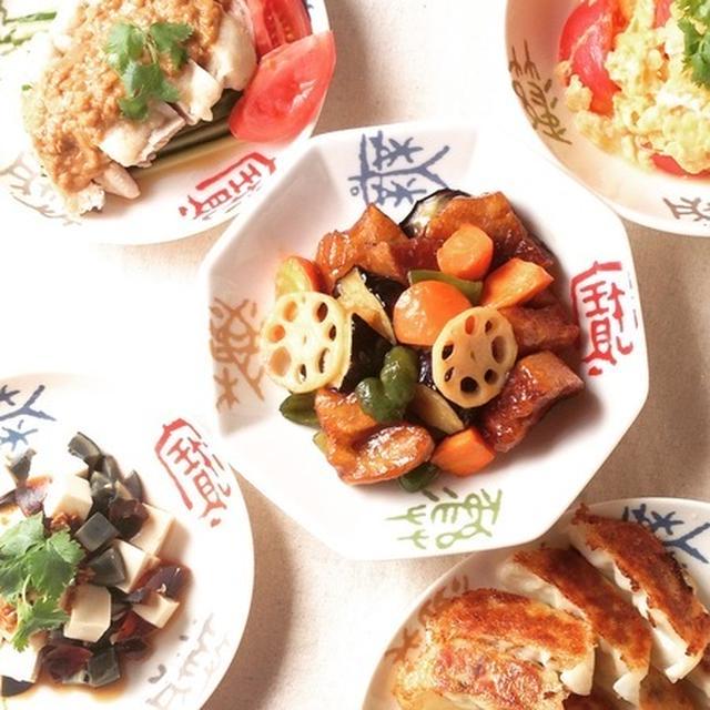 お麩で黒酢酢豚風と中華ディナー
