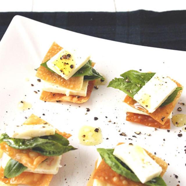おうちパーティーレシピ♪♪ワンタンとチーズのミルフィーユ