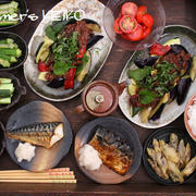 【晩ごはん】色んな素揚げ野菜の肉味噌煮添えと煮るだけ3分で完成の『オクラのおひたし』