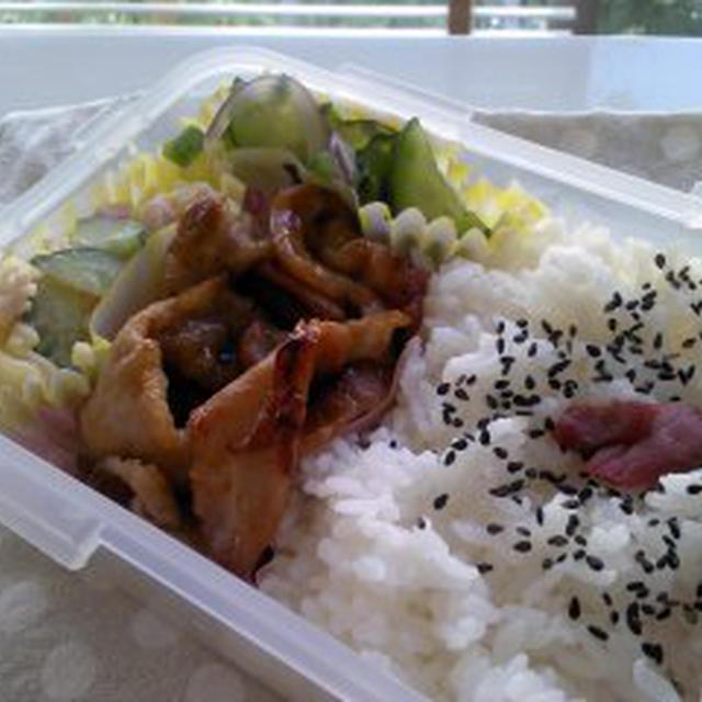 レシピ豚生姜焼き弁当